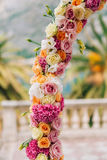 Wedding Arch of hydrangeas and roses. Wedding ceremony in the Ba Royalty Free Stock Photography