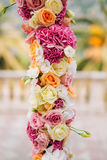 Wedding Arch of hydrangeas and roses. Wedding ceremony in the Ba Royalty Free Stock Photos