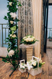 Wedding Arch inside restaurants. Wedding Arch inside Adrovichi restaurants in Montenegro, with a view of Sveti Stefan stock photography