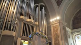 Wedding arch in the organ hall stock video