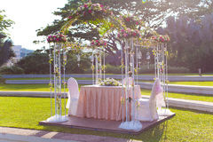 Wedding Arch. In an outdoor garden style decorationo Stock Photography