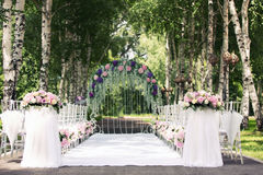 Wedding arch outdoors Royalty Free Stock Photos