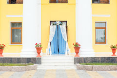 Wedding arch outside. Flowers arrangement decoration Royalty Free Stock Photography
