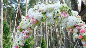 Wedding arch in the park stock footage