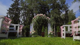 Wedding arch for registration stock footage