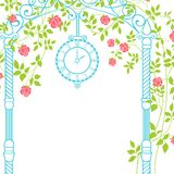 Wedding arch. Wedding arch with roses and leaves on the greeting card. Vector illustration Stock Photos