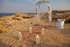 Wedding Arch on the sea shore Stock Images