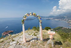 Wedding arch with a sea view Royalty Free Stock Image