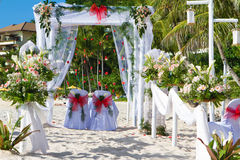 Wedding arch and set up. On beach Stock Image