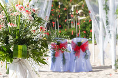 Wedding arch and set up. On beach Stock Photo