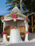 Wedding arch and set up. With flowers on tropical beach Royalty Free Stock Photo