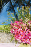 Wedding arch and set up with flowers on tropical beach Royalty Free Stock Image