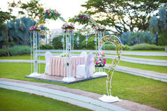 Wedding Arch setting. Outdoor garden style decoration. Wedding arch in a outdoor garden setting Stock Images