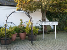 Wedding arch and sign at Gretna Green Royalty Free Stock Photography