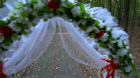 Wedding arch in summer forest stock video footage