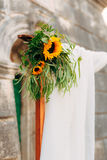 Wedding Arch of sunflowers. The ceremony at the St. Nikola Churc Stock Photo