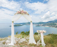 Wedding arch and table Royalty Free Stock Images