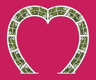 Wedding arch of white heart leaves shaped with pink background. Vector illustration. Stock Photos
