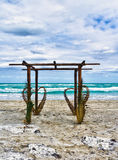 Wedding archway on a beach Royalty Free Stock Image