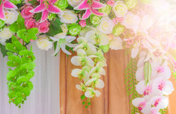 Wedding archway with flowers arranged in hotel for a wedding cer Royalty Free Stock Photography