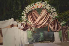 Wedding archway with flowers for a wedding ceremony Royalty Free Stock Images