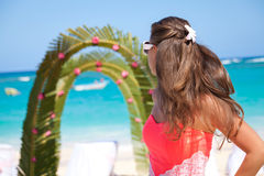 Wedding archway on tropical beach Royalty Free Stock Photo