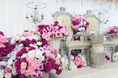 Wedding area with flowers, place for wedding   stock image