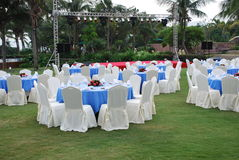 Wedding arrangement. Outdoor wedding arrangement in a tropical environmnet Stock Photos