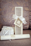 Wedding arrangement and complimentary pillow Royalty Free Stock Photo