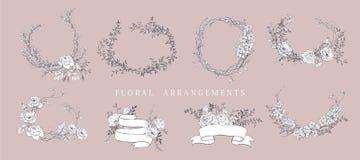 Wedding arrangement. Floral bouquet design. Botanical frame. royalty free illustration