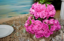 Wedding arrangement with pink roses Royalty Free Stock Image