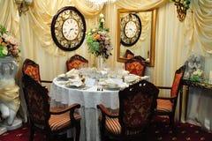 Wedding arrangement reception table Stock Photos