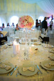 Wedding arrangement. Wedding tables in a tent prepared for a wedding stock photos