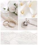 Wedding arrangment. Golden rings, necklace, flowers, lace, beautifutl wedding decoration Stock Photos