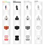 Wedding and Attributes cartoon black monochrome outline icons in set collection for design.Newlyweds and Accessories. Vector symbol stock illustration Stock Photos