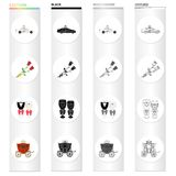 Wedding and Attributes cartoon black monochrome outline icons in set collection for design.Newlyweds and Accessories. Vector symbol stock illustration Stock Image