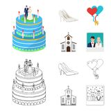 Wedding and Attributes cartoon ,flat,outline,black icons in set collection for design.Newlyweds and Accessories vector royalty free illustration
