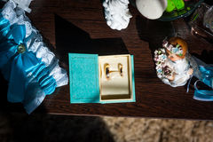 Wedding attributes on the table Stock Photography