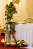 Wedding autumn decor at restaurant Stock Photo