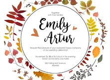 Wedding Autumn Fall Invite Invitation Floral Watercolor Style Ca Royalty Free Stock Photos