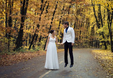 Wedding in autumn park Stock Photo
