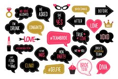 Wedding and bachelorette party photo booth props set. Bridal shower photobooth props. Vector speech bubbles with hen night quotes - team bride, bridesmaid, she royalty free illustration