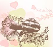 Wedding back with snail and flowers Stock Image