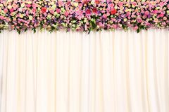 Wedding backdrop. With flower and cloth Stock Photo