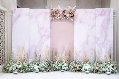Wedding backdrop with flower. And wedding decoration royalty free stock photo