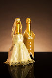 Wedding background. With decorated bottles  (for any design work Associated with wedding Royalty Free Stock Image