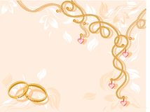 Wedding background. With a necklace and rings Stock Photos