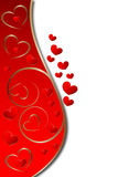 Wedding background. Ornate heart background on red with stipe for text Royalty Free Stock Photography