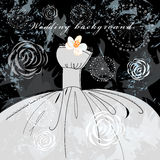 Wedding background. Graphical textured background with a wedding dress in the dark stock illustration