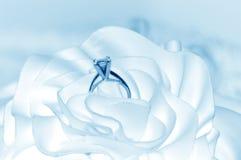 Wedding Background. Something borrowed, something blue background. Wedding ring background tinted soft blue stock photography